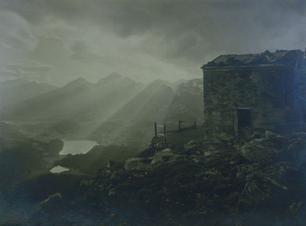 Small ast 021 hutte auf dem schafberg. wo segantini starb 1927